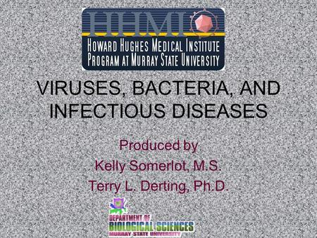 VIRUSES, BACTERIA, AND INFECTIOUS DISEASES Produced by Kelly Somerlot, M.S. Terry L. Derting, Ph.D.