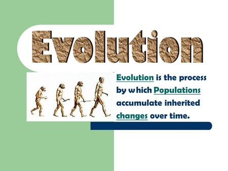 Evolution is the process by which Populations accumulate inherited changes over time.
