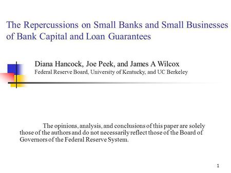 1 The Repercussions on Small <strong>Banks</strong> and Small Businesses of <strong>Bank</strong> Capital and Loan Guarantees The opinions, analysis, and conclusions of this paper are solely.