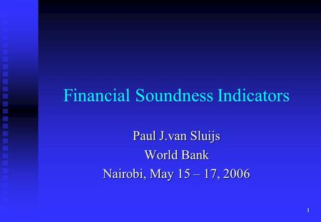 Financial Soundness Indicators