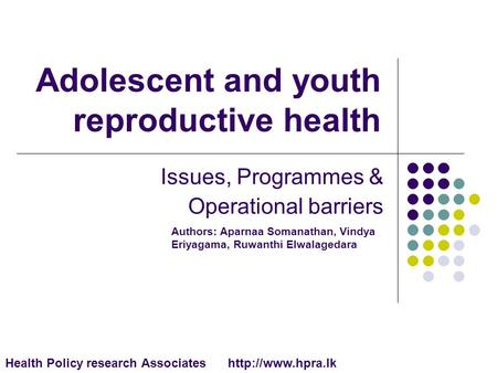 Adolescent and youth reproductive health