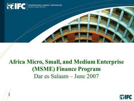 1 Africa Micro, Small, and Medium Enterprise (MSME) Finance Program Dar es Salaam – June 2007.
