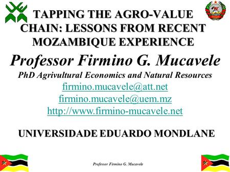 TAPPING THE AGRO-VALUE CHAIN: LESSONS FROM RECENT MOZAMBIQUE EXPERIENCE UNIVERSIDADE EDUARDO MONDLANE Professor Firmino G. Mucavele PhD Agrivultural Economics.