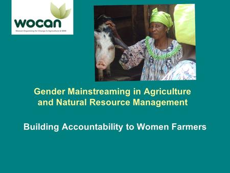 Gender Mainstreaming in Agriculture and Natural Resource Management Building Accountability to Women Farmers.