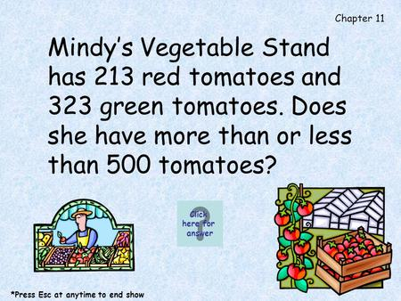 Chapter 11 Mindys Vegetable Stand has 213 red tomatoes and 323 green tomatoes. Does she have more than or less than 500 tomatoes? Click here for answer.