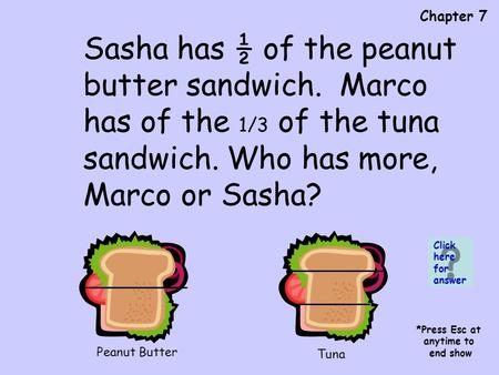 Chapter 7 Peanut Butter Tuna Sasha has ½ of the peanut butter sandwich. Marco has of the 1/3 of the tuna sandwich. Who has more, Marco or Sasha? Click.