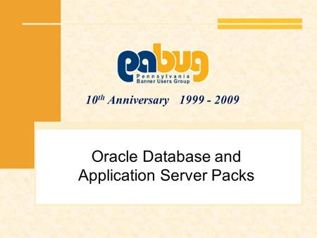 10 th Anniversary 1999 - 2009 Oracle Database and Application Server Packs.