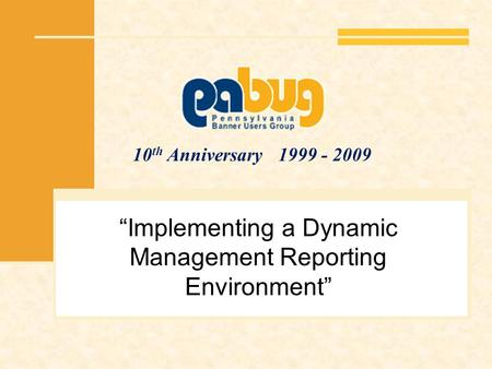 10 th Anniversary 1999 - 2009 Implementing a Dynamic Management Reporting Environment.