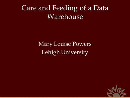 Care and Feeding of a Data Warehouse Mary Louise Powers Lehigh University.
