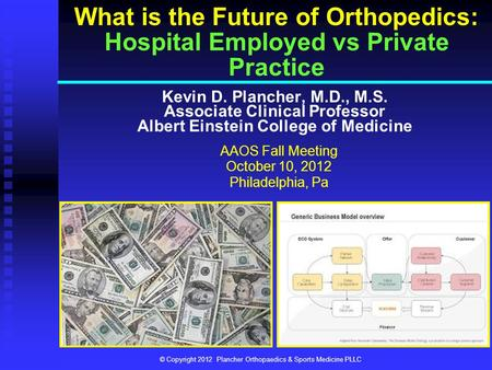 Kevin D. Plancher, M.D., M.S. Associate Clinical Professor Albert Einstein College of Medicine What is the Future of Orthopedics: Hospital Employed vs.