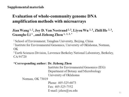 Evaluation of whole-community genome DNA amplification methods with microarrays Jian Wang 1, 2, Joy D. Van Nostrand 2, 3, Liyou Wu 2, 3, Zhili He 2, 3,