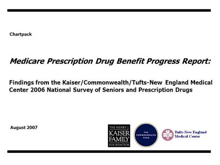 Chartpack Medicare Prescription Drug Benefit Progress Report: Findings from the Kaiser/Commonwealth/Tufts-New England Medical Center 2006 National Survey.