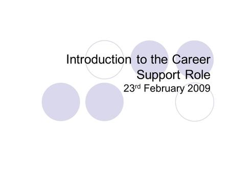 Introduction to the Career Support Role 23 rd February 2009.