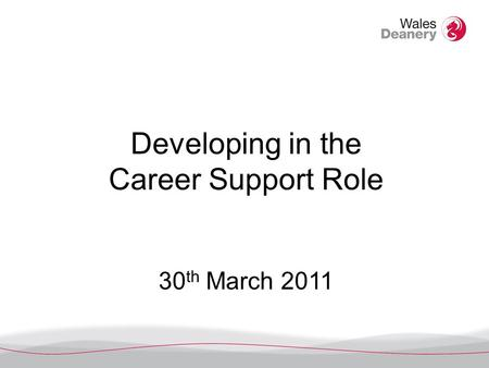 Developing in the Career Support Role 30 th March 2011.