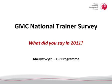 GMC National Trainer Survey What did you say in 2011? Aberystwyth – GP Programme.