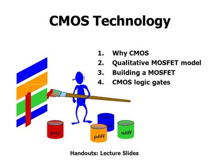 CMOS Technology 1.Why CMOS 2.Qualitative MOSFET model 3.Building a MOSFET 4.CMOS logic gates Handouts: Lecture Slides.