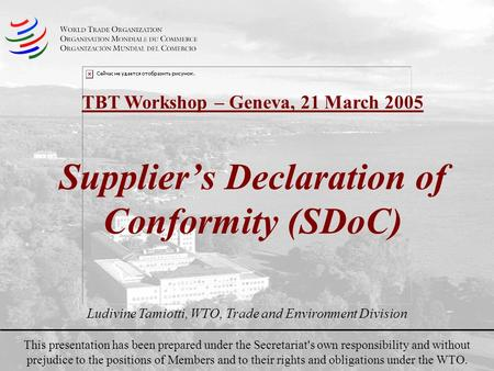 Suppliers Declaration of Conformity (SDoC) This presentation has been prepared under the Secretariat's own responsibility and without prejudice to the.