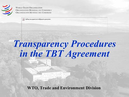 Transparency Procedures in the TBT Agreement WTO, Trade and Environment Division.