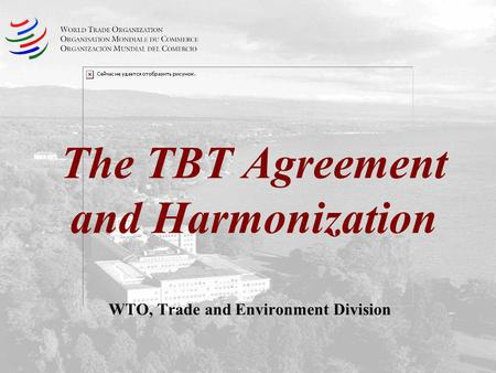 The TBT Agreement and Harmonization WTO, Trade and Environment Division.