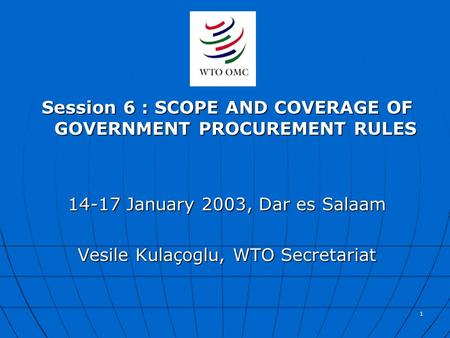 1 Session 6 : SCOPE AND COVERAGE OF GOVERNMENT PROCUREMENT RULES 14-17 January 2003, Dar es Salaam Vesile Kulaçoglu, WTO Secretariat.