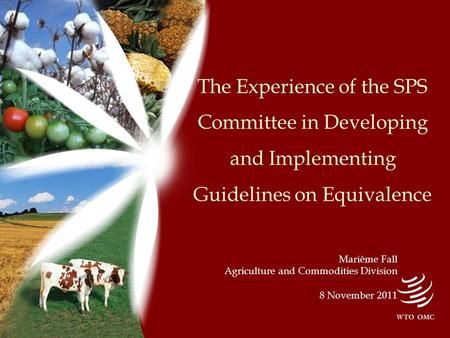 The Experience of the SPS Committee in Developing and Implementing Guidelines on Equivalence Marième Fall Agriculture and Commodities Division 8 November.