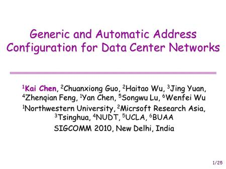 1/25 Generic and Automatic Address Configuration for Data Center Networks 1 Kai Chen, 2 Chuanxiong Guo, 2 Haitao Wu, 3 Jing Yuan, 4 Zhenqian Feng, 1 Yan.