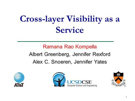 1 Cross-layer Visibility as a Service Ramana Rao Kompella Albert Greenberg, Jennifer Rexford Alex C. Snoeren, Jennifer Yates.