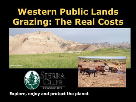Western Public Lands Grazing: The Real Costs Explore, enjoy and protect the planet Forest Guardians Jonathan Proctor.