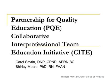 Partnership for Quality Education (PQE) Partnership for Quality Education (PQE) Collaborative Interprofessional Team Education Initiative (CITE) Carol.