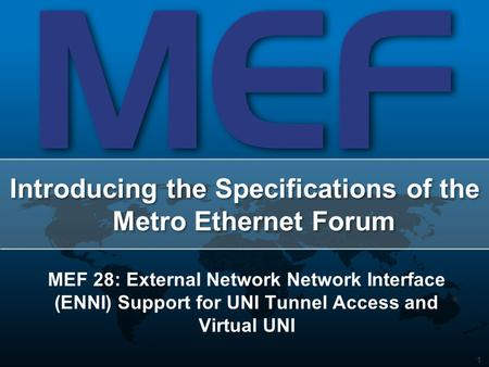 1 Introducing the Specifications of the Metro Ethernet Forum MEF 28: External Network Network Interface (ENNI) Support for UNI Tunnel Access and Virtual.