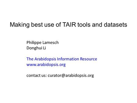 Making best use of TAIR tools and datasets Philippe Lamesch Donghui Li The Arabidopsis Information Resource  contact us: