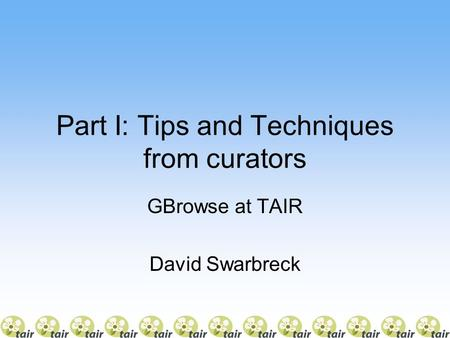 Part I: Tips and Techniques from curators GBrowse at TAIR David Swarbreck.