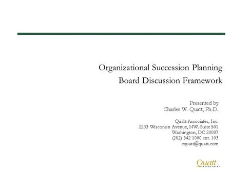 Organizational Succession Planning Board Discussion Framework.