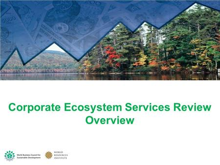 Corporate Ecosystem Services Review Overview. The benefits society and business obtain from ecosystems The goods and services of nature Ecosystem services.