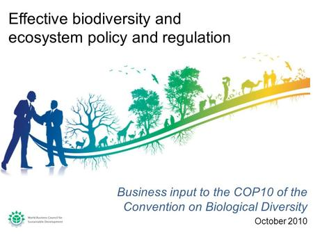 Business input to the COP10 of the Convention on Biological Diversity October 2010 Effective biodiversity and ecosystem policy and regulation.