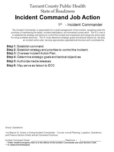 Tarrant County Public Health State of Readiness Incident Command Job Action Step 1: Establish command. Step 2: Establish strategy and priorities to control.