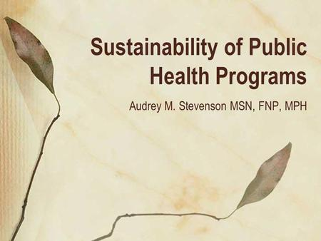 Sustainability of Public Health Programs Audrey M. Stevenson MSN, FNP, MPH.