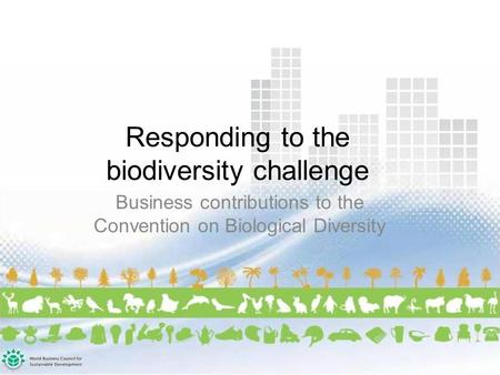 Responding to the biodiversity challenge Business contributions to the Convention on Biological Diversity.