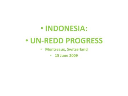 INDONESIA: UN-REDD PROGRESS Montreaux, Switzerland 15 June 2009.