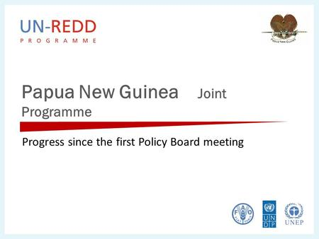 Papua New Guinea Joint Programme Progress since the first Policy Board meeting.