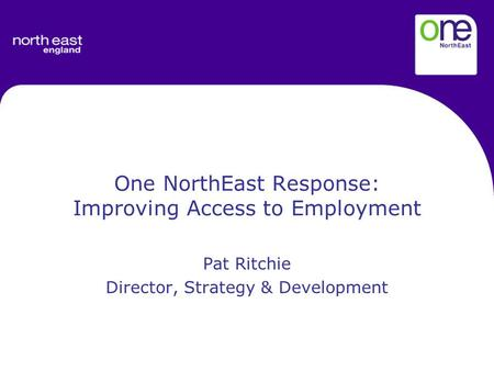 One NorthEast Response: Improving Access to Employment Pat Ritchie Director, Strategy & Development.