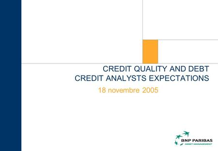 CREDIT QUALITY AND DEBT CREDIT ANALYSTS EXPECTATIONS 18 novembre 2005.