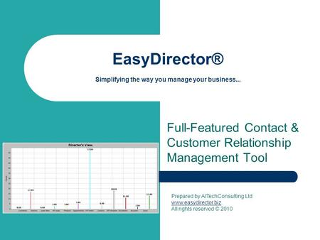 EasyDirector® Simplifying the way you manage your business... Full-Featured Contact & Customer Relationship Management Tool Prepared by AITechConsulting.