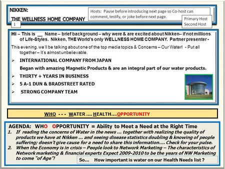 Hi – This is __ Name – brief background – why were & are excited about Nikken– if not millions of Life-Styles. Nikken, THE Worlds only WELLNESS HOME COMPANY.