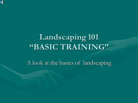 Landscaping 101 BASIC TRAINING A look at the basics of landscaping.