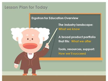 Lesson Plan for Today Ergotron for Education Overview The industry landscape: What we know A broad product portfolio that fits: What we offer Tools, resources,