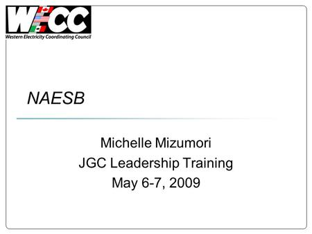 NAESB Michelle Mizumori JGC Leadership Training May 6-7, 2009.