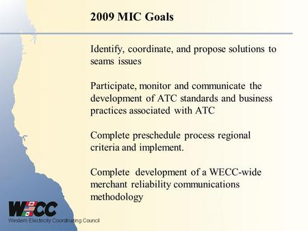 Western Electricity Coordinating Council Identify, coordinate, and propose solutions to seams issues Participate, monitor and communicate the development.