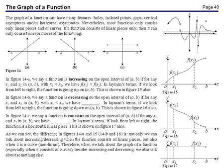 Page 40 The Graph of a Function The graph of a function can have many features: holes, isolated points, gaps, vertical asymptotes and/or horizontal asymptotes.