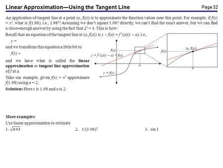 Page 32 Linear ApproximationUsing the Tangent Line An application of tangent line at a point (a, f(a)) is to approximate the function values near this.